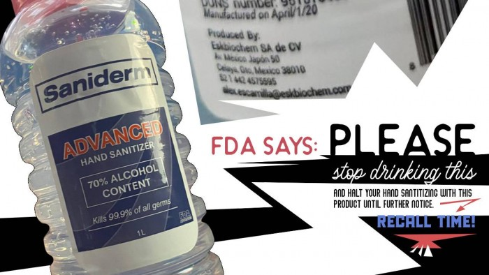 FDA:因担心有甲醇残留 Saniderm一款洗手液被召回