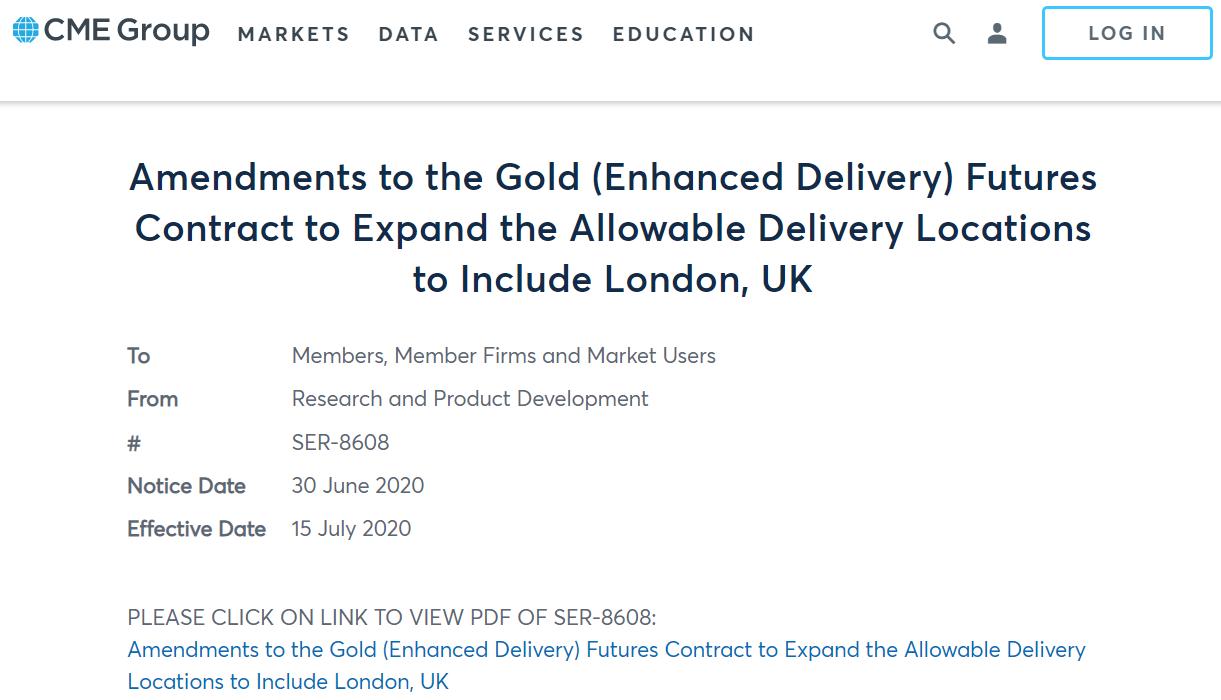 芝商所将把新Comex黄金期货合约交割地扩大至伦敦