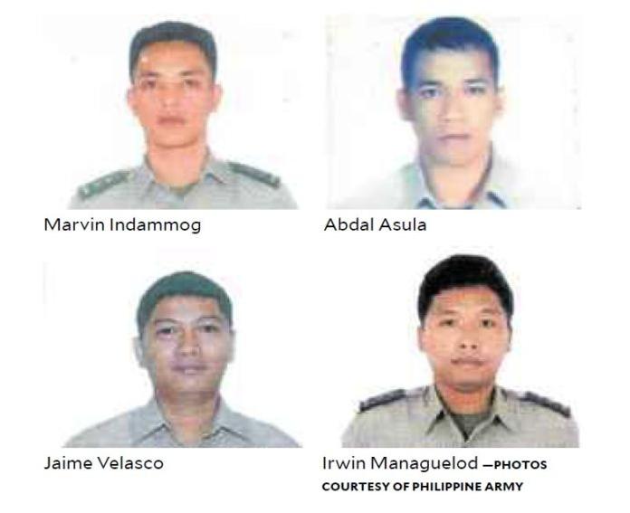 4名遇难的菲律宾陆军情报人员