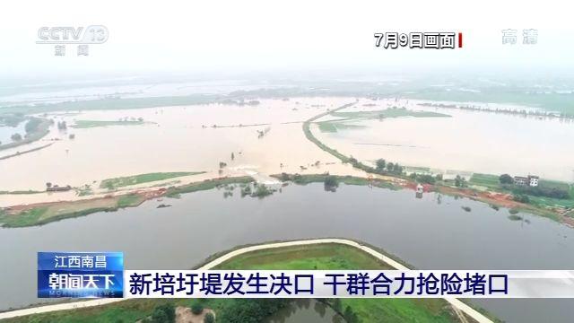 江西南昌新培圩堤发生决口 干群合力抢险堵口图片