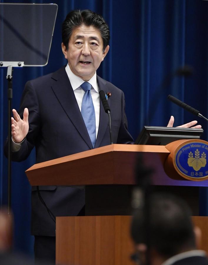 日本首相安倍晋三(共同社)
