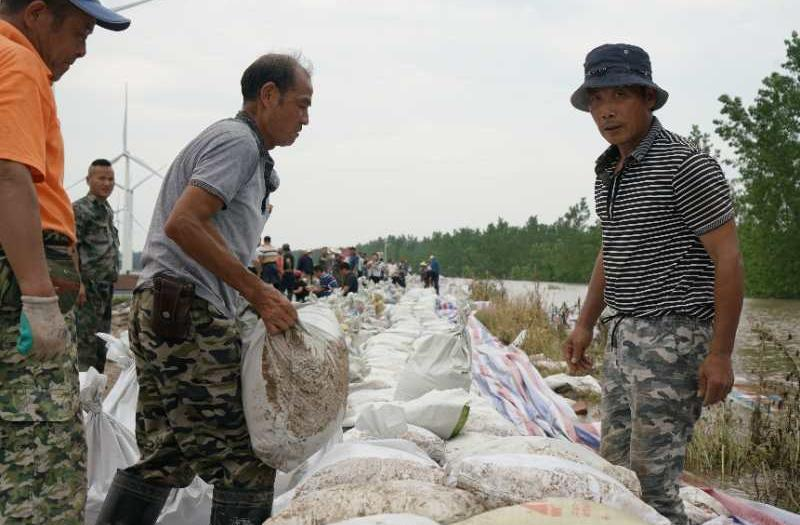 7月11日下昼,九江市江洲镇群众正在抢筑子堤。中青报·中青网见习记者 李强 摄