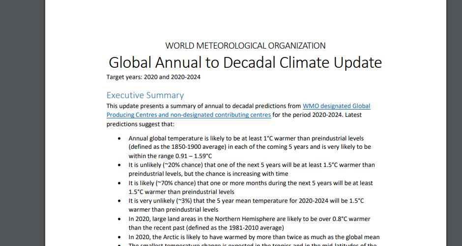 △天下景象构造的讲述表现,2020年-2024年这五年中的每一年全球温度都大概比产业化前程度至少高一摄氏度。