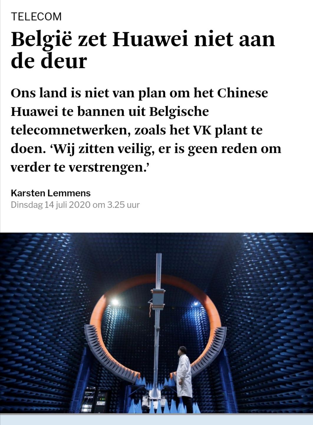 比利时电信部部长:比利时不会将华为拒之门外