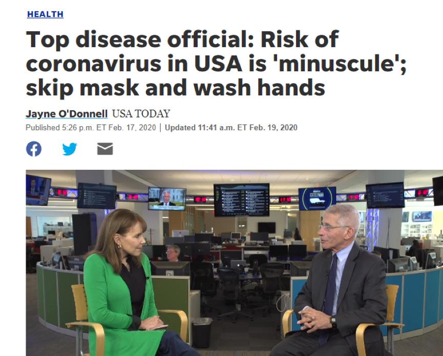 (图为今年2月17日福奇在接受采访时说美国爆发新冠疫情的风险很小,并表示勤洗手就行,不用戴口罩)