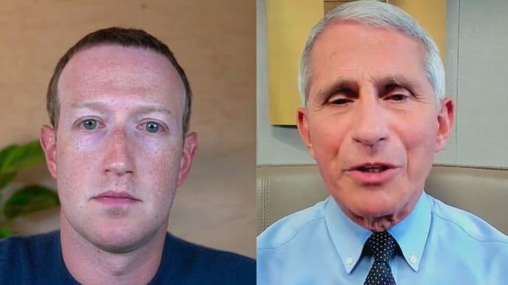 (左:扎克伯格;右:福奇。图源:脸书)