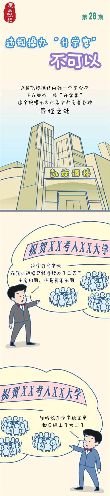 漫画说纪|违规操办升学杏悦宴不可以,杏悦图片