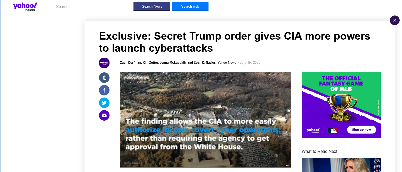 雅虎新闻:特朗普密令授予CIA更多发动网络攻击的权力