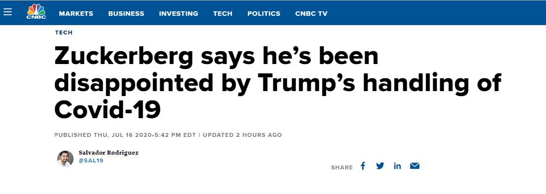 (CNBC:扎克伯格称对特朗普应对疫情的方式表示失望)