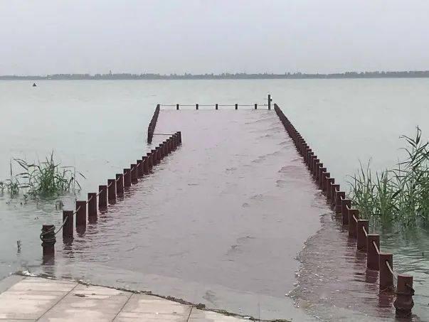一连雷暴雨,东太湖水位连续上升,湖边旅行栈道船埠被淹。(汪宏胜 摄)