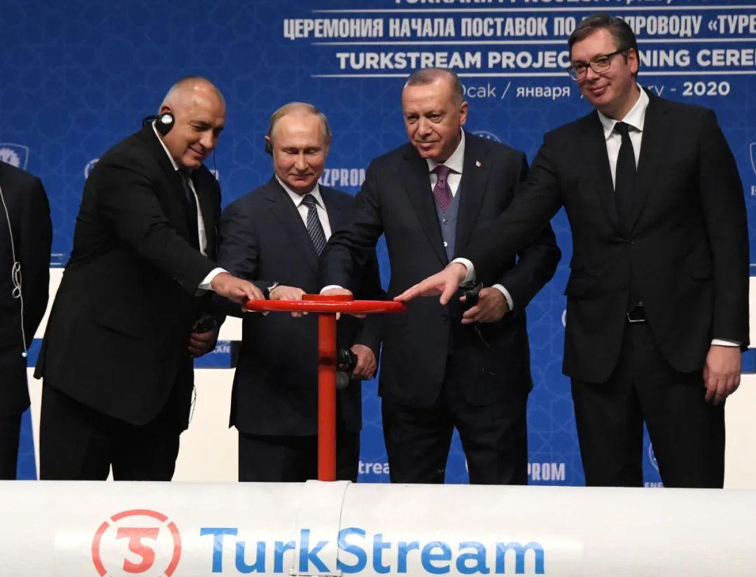 """1月8日,在土耳其伊斯坦布尔,土耳其总统埃尔多安(右二)、俄罗斯总统普京(左二)、保加利亚总理鲍里索夫(左一)与塞尔维亚总统武契奇参加""""土耳其溪""""天然气管道通气仪式。新华社记者 徐速绘 摄"""