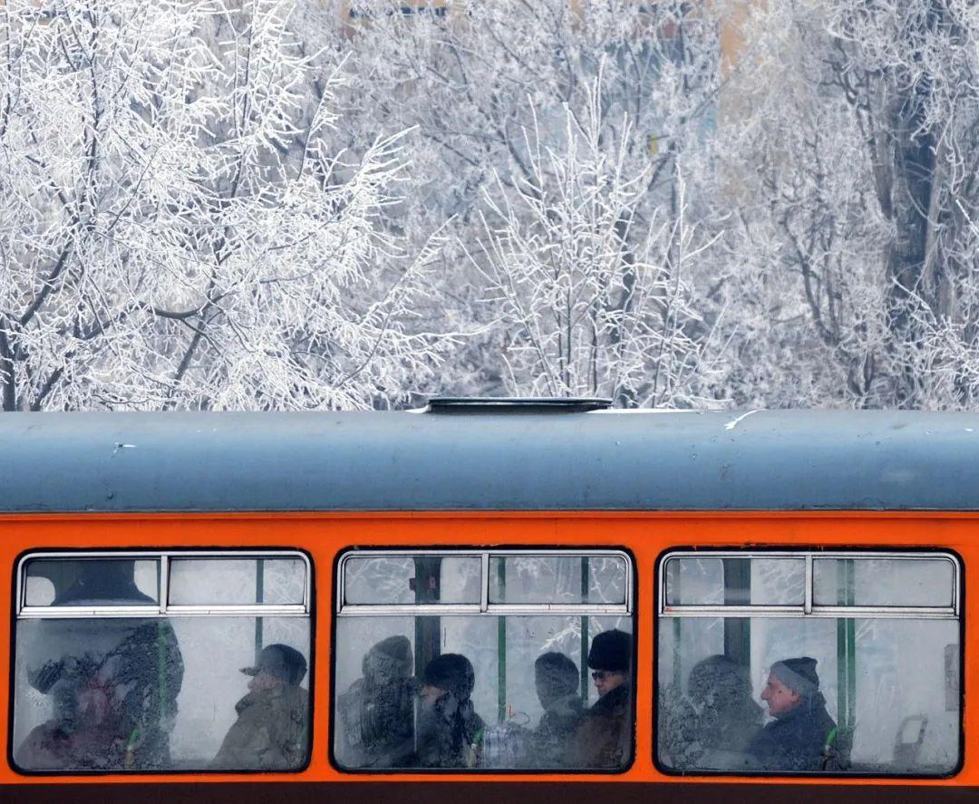 2009年1月12日,在保加利亚首都索非亚,人们乘坐的电车车窗上结满冰花。新华社发
