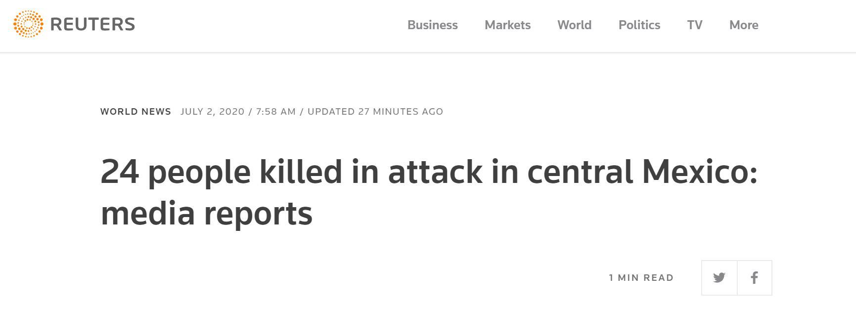 墨西哥中部发生袭击事件,致24死7伤