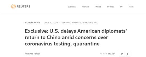 外媒:美国推迟外交官返回中国行程图片