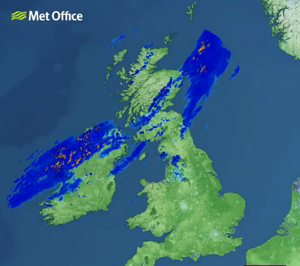 △英国气象局雷达监测图像(图片来源《爱尔兰邮报》)