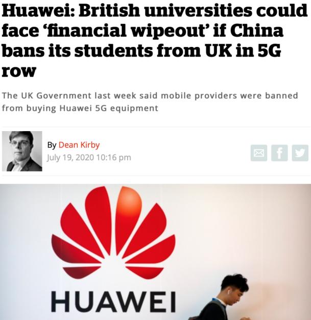 △ 标题《华为:如果中国在5G争端中禁止学生来英国留学,英国大学可能倾家荡产》(图片来源:英国媒体inews)