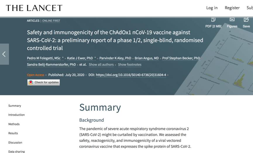 △牛津大学主导的疫苗试验结果在线发表在《柳叶刀》上