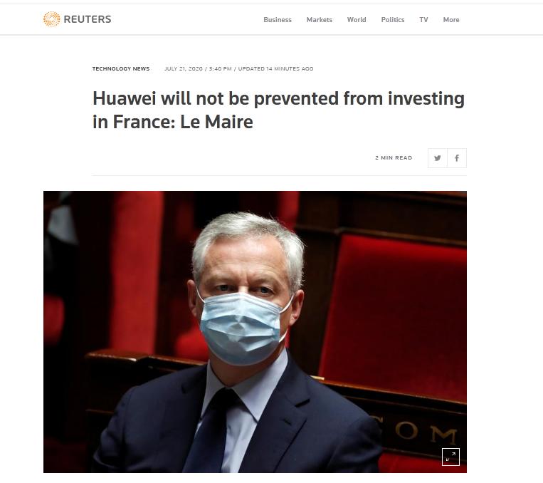 「杏悦」英国宣布禁用华为后法国表态杏悦图片
