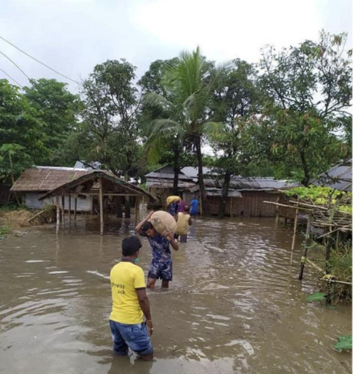 △尼泊尔当地部分地区发生内涝
