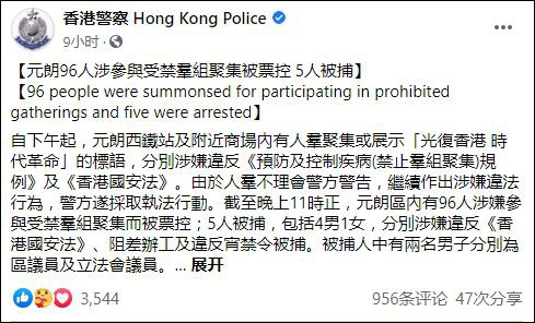 「杏悦」香港元朗示威杏悦96人被票控5人被捕图片