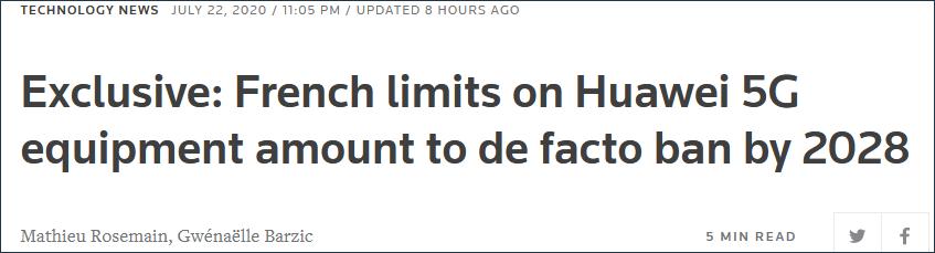 """22日,路透社报道称,""""法国的限定究竟上克制了2028年前华为5G装备的利用"""""""