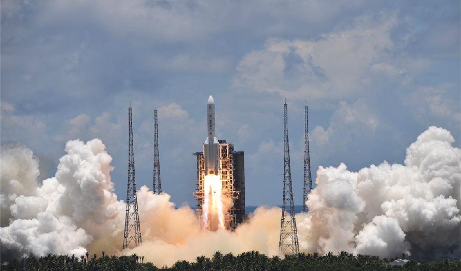 """中国探火出发!长五火箭成功发射""""天问一号""""火星探测器图片"""