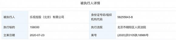 乐视控股(北京)有限公司被列为被执行人