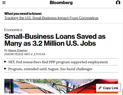 △麻省理工学院和美联储研究人员发现,针对小企业的薪资保护计划挽救了140万到320万个工作岗位,但该计划很快将于8月8日到期