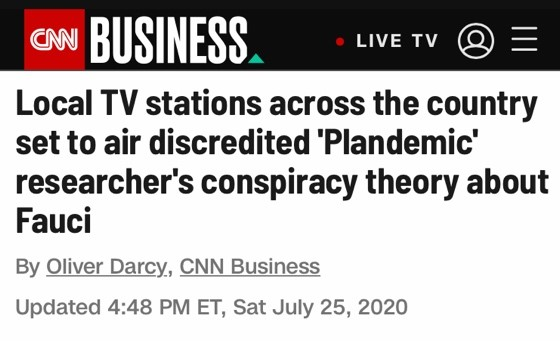 △CNN指出,电视节目《美国周报》对于福奇博士的言论是毫无根据的阴谋论