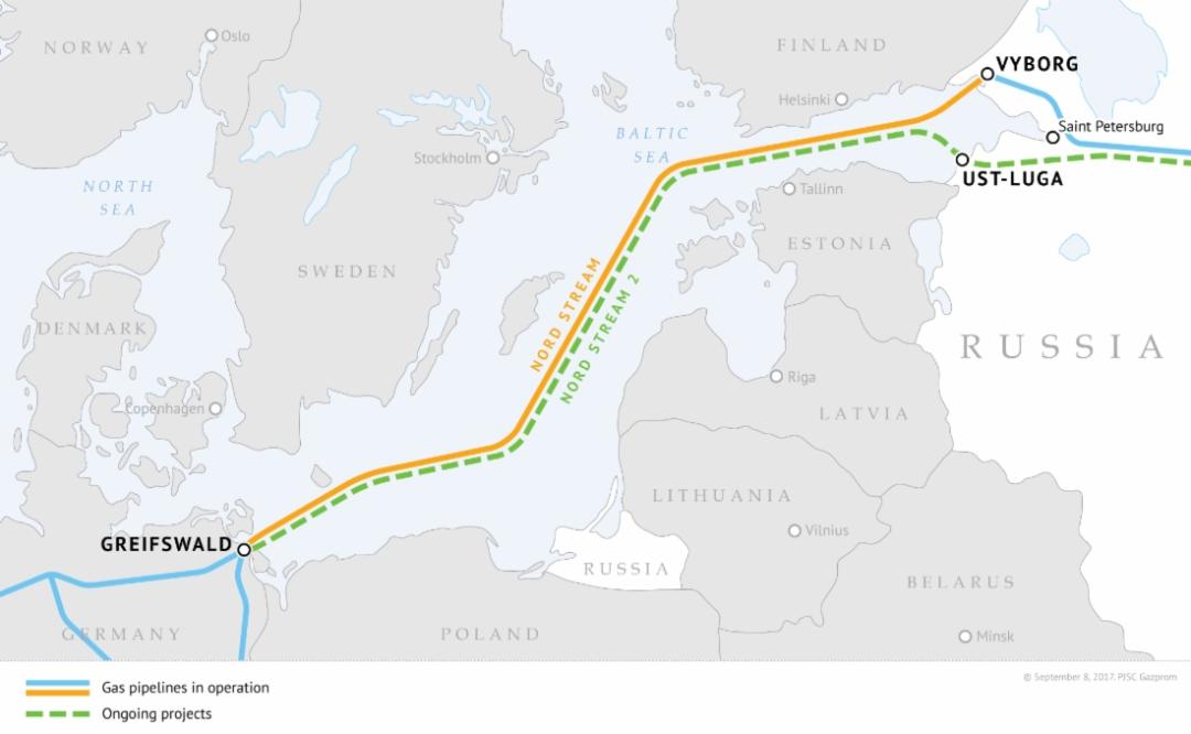 """""""北溪-2""""管线示意图(图片来源:俄罗斯天然气公司官网)"""
