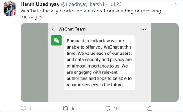 印度用户收到微信团队信息,推特截图