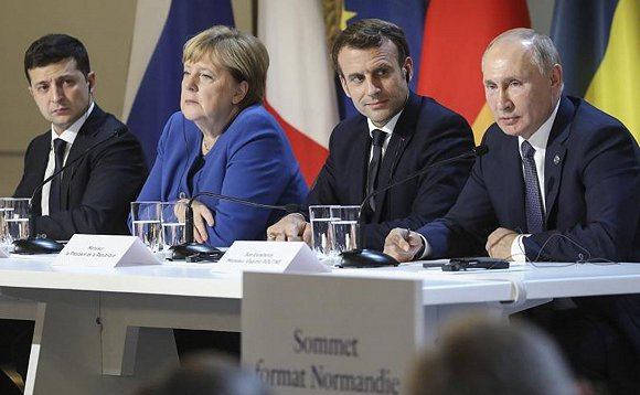 """乌克兰、俄罗斯、德国、法国""""诺曼底模式""""会谈。图片来源:Twitter"""