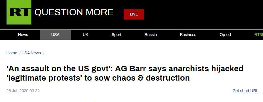 """RT:司法部长巴尔称反政府主义者劫持了""""合法抗议活动""""造成混乱和破坏,""""这是对政府的攻击"""""""