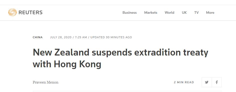 [杏悦]风新西兰宣布暂停与杏悦香港引渡条约图片