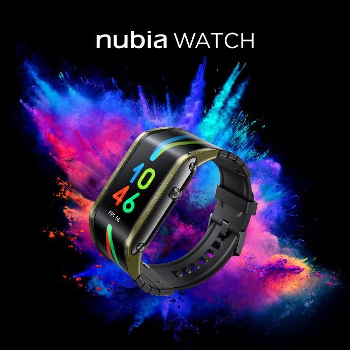 努比亚 Nubia Watch 正面照公布:柔性屏设计,战甲绿配色