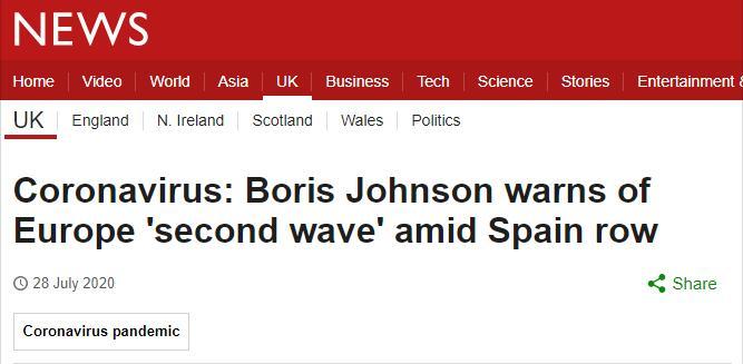 英国首相鲍里斯•约翰逊发出警告:欧洲要暴发第二波疫情高峰