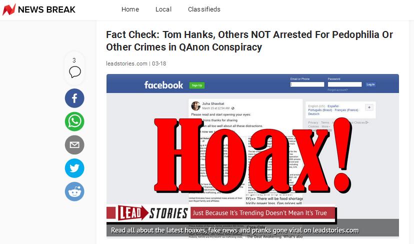 """《新闻周刊》也表示经事实核查:汤姆·汉克斯没有因恋童癖或其他罪名被捕,这一消息是""""QAnon""""的阴谋论"""