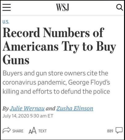 △《华尔街日报》指出,今年3月至6月,美国联邦调查局一共处理了780万件申请购买枪支的背景调查