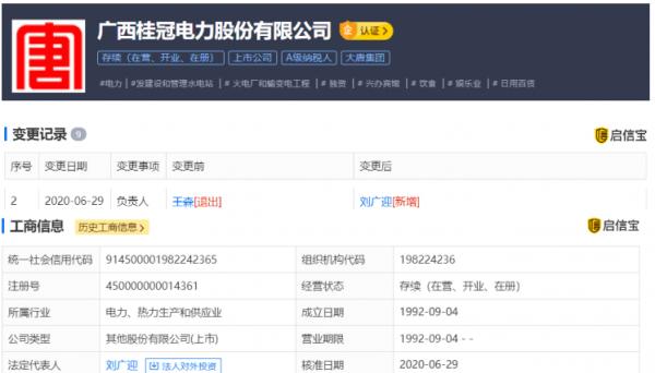 广西桂冠电力股份有限公司法定代表人变更