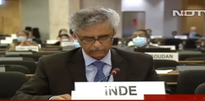 钱德尔在联合国发言 印媒视频截图