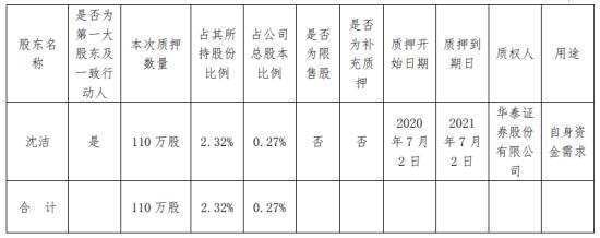 南大光电股东沈洁质押110万股 用于自身资金需求