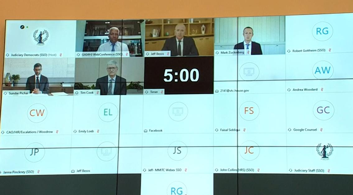 四大科技公司CEO接受视频质询,视频截图