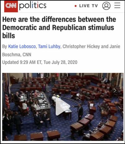 美最新纾困法案博弈激烈:两党相谈不拢 白宫无人支持