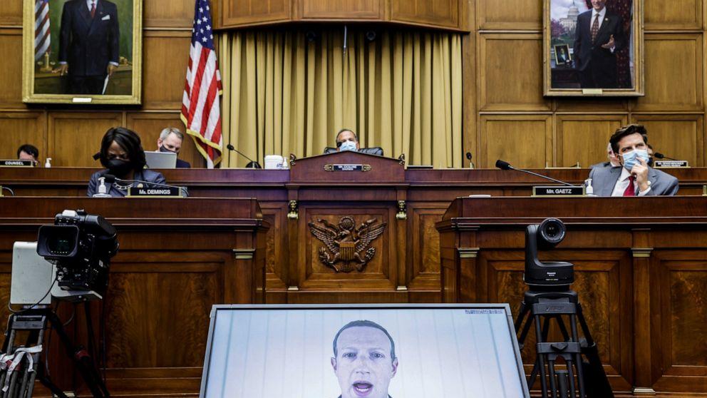 扎克伯格通过在线方式出席听证会(图:美联社)