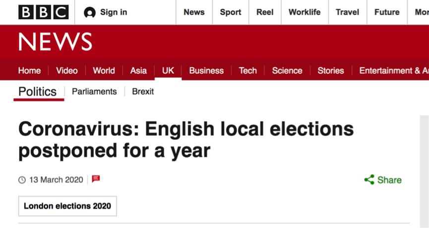 △3月份,BBC对英国推迟选举的报道截图