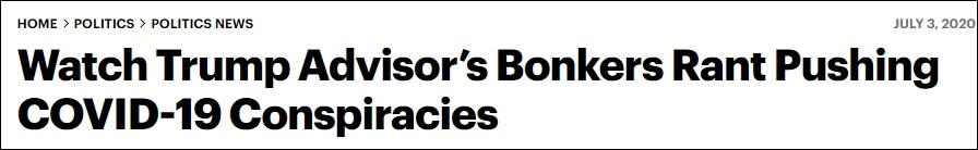 看看特朗普的顾问疯狂鼓吹新冠病毒阴谋论 截图:《滚石》