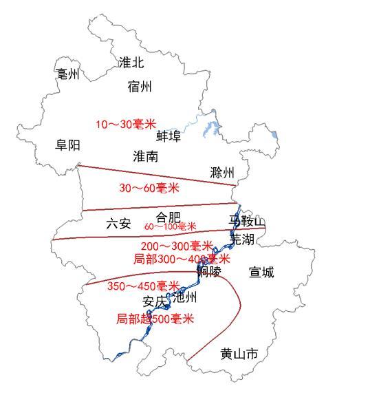 △安徽省5-8日累计降水量预告图
