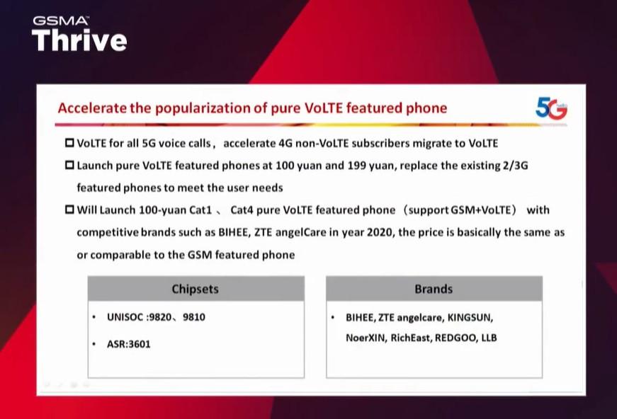 中国电信:打造 100 元纯 VoLTE 功能手机