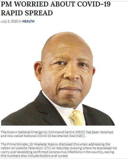 莱索托政府对新冠疫情在该国的迅速传播表示担忧