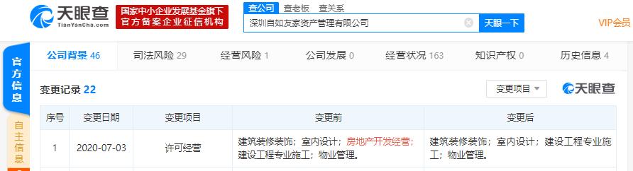 深圳自如友家资产管理有限公司许